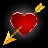 Κόκκινη καρδιά με το χρυσό βέλος Στοκ Φωτογραφία