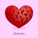 Κόκκινη καρδιά με το tracery σε το στο ρόδινο υπόβαθρο Στοκ Φωτογραφία