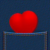 Κόκκινη καρδιά στην τσέπη ελεύθερη απεικόνιση δικαιώματος