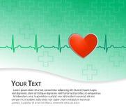 Κόκκινη καρδιά στο πράσινο υπόβαθρο με το ekg (ecg) Ελεύθερη απεικόνιση δικαιώματος