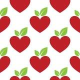 Κόκκινη καρδιά της Apple άνευ ραφής απεικόνιση αποθεμάτων