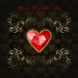 Κόκκινη καρδιά διαμαντιών Στοκ Εικόνα