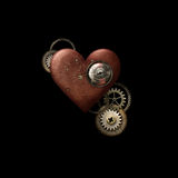 Κόκκινη καρδιά Steampunk στο Μαύρο Στοκ φωτογραφία με δικαίωμα ελεύθερης χρήσης