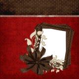 Κόκκινη & καφετιά κομψή σελίδα λευκώματος αποκομμάτων Στοκ Φωτογραφία