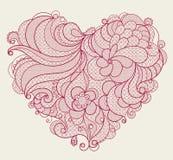 Κόκκινη κεντημένη καρδιά δαντελλών με τους floral στροβίλους Στοκ φωτογραφία με δικαίωμα ελεύθερης χρήσης