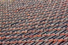 Κόκκινη κεραμωμένη άργιλος στέγη με τη λειχήνα στοκ φωτογραφία