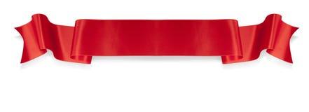 κόκκινη κορδέλλα κομψότητας εμβλημάτων Στοκ Εικόνα