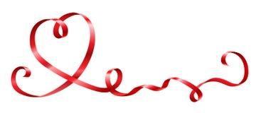Κόκκινη κορδέλλα στη μορφή καρδιών για τον εορτασμό απεικόνιση αποθεμάτων