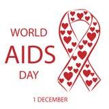 Κόκκινη κορδέλλα καρδιών Παγκόσμιας Ημέρας κατά του AIDS Στοκ Φωτογραφία