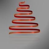 Κόκκινη κορδέλλα με τις χρυσές γραμμές στη μορφή του αφηρημένου χριστουγεννιάτικου δέντρου Στοκ εικόνα με δικαίωμα ελεύθερης χρήσης