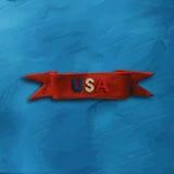 Κόκκινη κορδέλλα με το κείμενο ΗΠΑ διανυσματική απεικόνιση