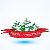 Κόκκινη κορδέλλα Χριστουγέννων με το δέντρο σχεδίων Κάρτα έννοιας Χριστουγέννων διανυσματική απεικόνιση