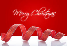 Κόκκινη κορδέλλα Χριστουγέννων Στοκ Εικόνα