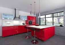 Κόκκινη κουζίνα Στοκ Εικόνες