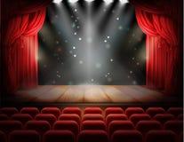 Κόκκινη κουρτίνα και κενή θεατρική σκηνή απεικόνιση αποθεμάτων