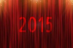 Κόκκινη κουρτίνα και χρυσά αστέρια προς τα εμπρός έως 2015 Στοκ Εικόνα