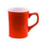 Κόκκινη κούπα φλυτζανιών καφέ που απομονώνεται στο άσπρο υπόβαθρο Στοκ Φωτογραφίες