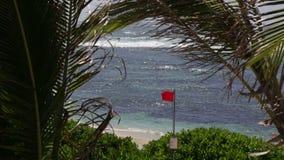 Κόκκινη κυματίζοντας σημαία σε μια ακτή στο Μαυρίκιο απόθεμα βίντεο