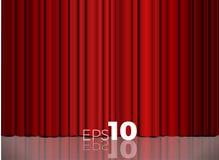 Κόκκινη κλειστή κουρτίνα με τα ελαφριά σημεία σε ένα θέατρο Στοκ φωτογραφία με δικαίωμα ελεύθερης χρήσης