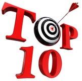 Κόκκινη λέξη τοπ δέκα με το στόχο και το βέλος Στοκ φωτογραφία με δικαίωμα ελεύθερης χρήσης