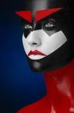 Κόκκινη μαύρη άσπρη τέχνη Makeup Στοκ φωτογραφία με δικαίωμα ελεύθερης χρήσης
