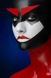 Κόκκινη μαύρη άσπρη τέχνη Makeup Στοκ Φωτογραφία