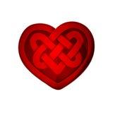 Κόκκινη μορφή καρδιών με το κελτικό σχέδιο Στοκ Φωτογραφίες
