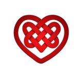 Κόκκινη μορφή καρδιών με το κελτικό σχέδιο Στοκ Εικόνες