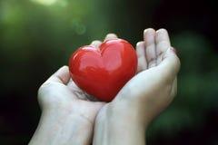 Κόκκινη μορφή καρδιών στα χέρια στο πράσινο κλίμα Στοκ εικόνες με δικαίωμα ελεύθερης χρήσης