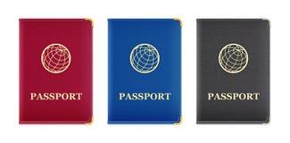 Κόκκινη, μπλε, και μαύρη κάλυψη διαβατηρίων Στοκ Φωτογραφία