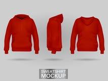 Κόκκινη μπλούζα hoodie χωρίς πρότυπο φερμουάρ σε τρεις διαστάσεις ελεύθερη απεικόνιση δικαιώματος