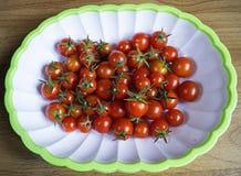 Κόκκινη ντομάτα στο πιάτο Στοκ Φωτογραφία