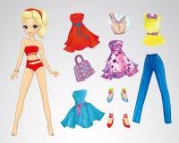 Κόκκινη ξανθή κούκλα μόδας εγγράφου διανυσματική απεικόνιση