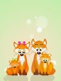 Κόκκινη οικογένεια αλεπούδων Στοκ Εικόνα