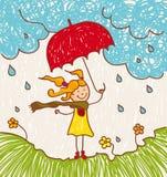 κόκκινη ομπρέλα κοριτσιών Στοκ φωτογραφία με δικαίωμα ελεύθερης χρήσης