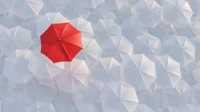 Κόκκινη ομπρέλα που ξεχωρίζει από τη μαζική έννοια πλήθους διανυσματική απεικόνιση