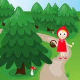 Κόκκινη οδηγώντας κουκούλα στο δάσος Στοκ εικόνες με δικαίωμα ελεύθερης χρήσης