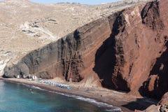 Κόκκινη παραλία σε Santorini, νησιά Cycladic, Ελλάδα στοκ εικόνες
