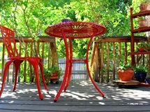 Κόκκινη περίληψη επίπλων patio Στοκ Εικόνες