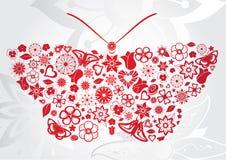Κόκκινη πεταλούδα λουλουδιών Στοκ Εικόνα