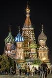 Κόκκινη πλατεία στη Μόσχα τη νύχτα στοκ εικόνα