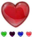 Κόκκινη, πορφυρή, πράσινη, ρόδινη και μπλε λαμπρή καρδιά γυαλιού Στοκ εικόνα με δικαίωμα ελεύθερης χρήσης