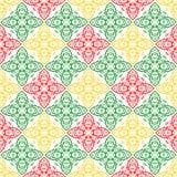 Κόκκινη πράσινη και κίτρινη Floral διακοσμητική ασιατική όμορφη βασιλική εκλεκτής ποιότητας ταπετσαρία σύστασης σχεδίων ανοίξεων  Στοκ εικόνα με δικαίωμα ελεύθερης χρήσης