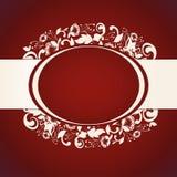 Κόκκινη πρόσκληση με το αφηρημένο floral υπόβαθρο Στοκ Εικόνες