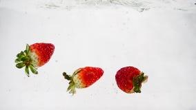 Κόκκινη πτώση μούρων στο νερό με τις φυσαλίδες Φράουλες σε σε αργή κίνηση φιλμ μικρού μήκους