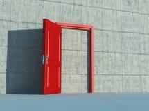 Κόκκινη πόρτα σε έναν συμπαγή τοίχο διανυσματική απεικόνιση