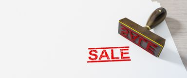 κόκκινη πώληση γραμματοσήμων στο υπόβαθρο της Λευκής Βίβλου απεικόνιση αποθεμάτων