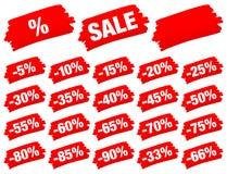 Κόκκινη πώληση κτυπημάτων βουρτσών μείον απεικόνιση αποθεμάτων
