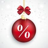 Κόκκινη πώληση Χριστουγέννων τοις εκατό μπιχλιμπιδιών απεικόνιση αποθεμάτων