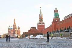 Κόκκινη πλατεία στη Μόσχα το χειμώνα Στοκ εικόνα με δικαίωμα ελεύθερης χρήσης